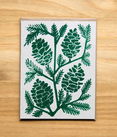 hand block printed Holiday card