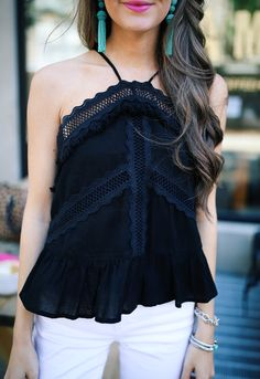 this black top has tiny fringe on it - so cute and less than $50!