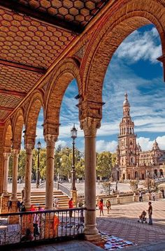 The Plaza de Espana is located in Seville, Spain, built for the 1928 Ibero-American Exposition of 1929.  It is a landmark example of the Renaissance Revival style in Spanish architecture.  Photo: google+