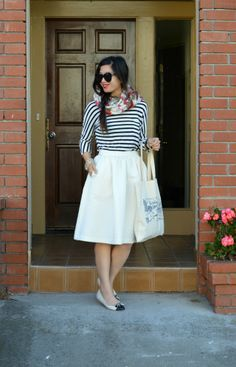 White Midi Skirt, Stripes, Floral Scarf