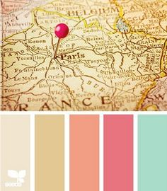 Color palette inspired by antique maps & globes for a travel-inspired wedding. THIS IS VERY CLOSE TO OUR COLORS