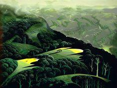 Rare Eyvind Earle - Fog, Storm and Rain Serigraph Landscape Art, Landscape Paintings, Landscapes, Illustrations, Illustration Art, Eyvind Earle, Phoenix Art Museum, West Art, Up Book
