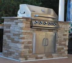 For the outdoor BBQ island! Air Stone at Lowe's. 8 sq. ft for $50