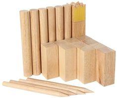 Wikingerspiel Kubb groß - Schach spielen wie die Wikinger, Holz, Spielzeug für draußen, 2-12 Personen,