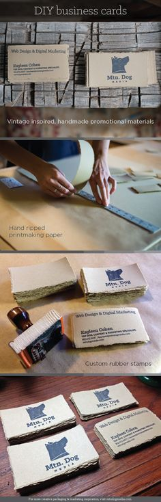 DIY handstamped business cards by Mtn. Dog Media. Step-by-step directions for creating your own vintage inspired, handmade promotional materials!