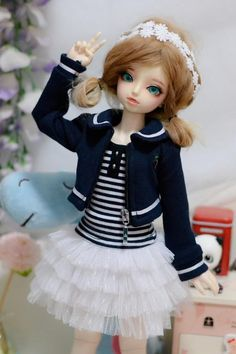 05# School Uniform Skirt//Shirts Set 1//3 SD AOD DZ BJD Dollfie PF