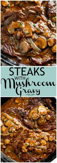 Steaks With Mushroom Gravy is simple and delicious with a quick and easy homemade gravy made from scratch! If you're a steak and gravy fan, then these juicy seared steaks are calling your name! Have dinner served on the table in 15 minutes! Steak And Mushrooms, Stuffed Mushrooms, Steak With Mushroom Sauce, Mushroom Tart, Crockpot Recipes, Cooking Recipes, Rump Steak Recipes, Minute Steak Recipes, Steaks