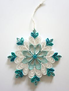 Your place to buy and sell all things handmade Ornaments Image, White Ornaments, Snowflake Ornaments, Snowflakes, Toilet Paper Roll Art, Rolled Paper Art, Quilling Patterns, Paper Quilling, Quilling Instructions