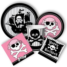 pirate birthday plates for boy and girl Birthday Bbq, 5th Birthday Party Ideas, Pirate Birthday, Girls Pirate Parties, Pirate Party Supplies, Girl Pirates, Party Packs, Bing Images, Party Stuff