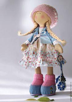 Купить Кукла текстильная. Большеногая девочка. Юная Селестина - синий, розовый, кукла ручной работы