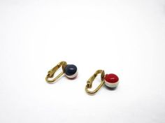 Vintage MOD Earrings 1960s Tiny Red White Blue Striped by Aquiris