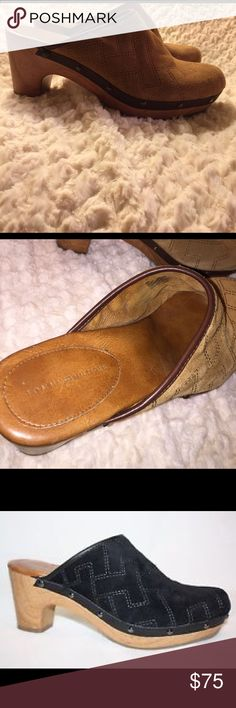 Tommy Hilfiger Leather Suede Clogs Beautiful leather suede mule clog from Tommy Hilfiger. Tan color with decorative pattern and trimmed in brown leather. Wooden heel with decorative vintage gold studs. Cushion bottom with some wear on both shoes but overall in excellent condition inside and outside. Worn twice. Heel height is 3inches. Tommy Hilfiger Shoes Mules & Clogs
