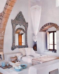 My Bohemian Home ~ Bedrooms and Guest Rooms  Chic, crisp, Moroccan decor with a statement-making mirror to die for.