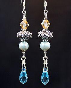 Sterling beads, pastel pearls, Swarovski crystals, by Love2BeadbyCindy