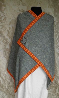 Beowulf and Grendel (Viking) inspired wrap in mixed green wool blend, red trim, Viking pin for sale at Pirates Cave