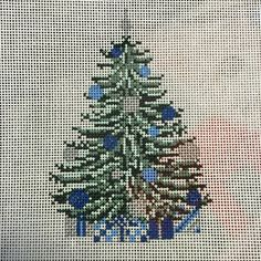 NEEDLE CROSSINGS   BLUE AND SILVER TREE/PRESENTS