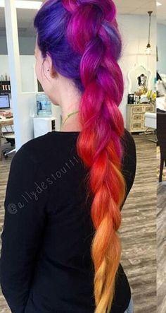Rainbow dyed oversized braided hair