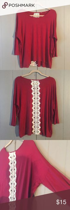 🍁Cranberry Dolman Sleeve Top🍁 Super cute and in excellent used condition! Dolman sleeves with crochet strip in the back that is somewhat see through. Perfect for fall! Tops