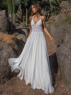 Lace V-neck Flared Backless Two Pieces Maxi Dress - Brautjungfernkleider - brautkleid Simple Lace Wedding Dress, Dream Wedding Dresses, Boho Beach Wedding Dress, Beach Weddings, Seaside Wedding, Destination Weddings, 2018 Wedding Dresses Trends, Modest Wedding, Romantic Weddings