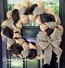 This burlap wreath tutorial is an easy craft you can do in a few hours. With two accent ribbons, the denim and dots wreath looks great in a home or cottage. The blue denim ribbon gives the burlap w…