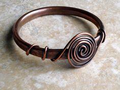 Bangle. Copper. Wire Wrapped. Rustic Patina. by fitzUniqueli