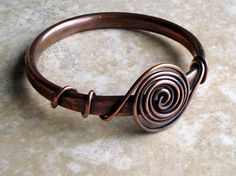 Bangle. Copper. Wire Wrapped. Rustic Patina. by fitzUniqueli