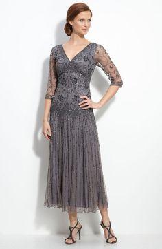 2013 Vintage Gray Mother of the Bride Dresses Tulle Beading V Neck Eblow Sleeve Tea Length 515389