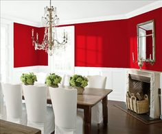 Look at the paint color combination I created with Benjamin Moore. Via @benjamin_moore. Wall: heritage red E-25; Trim & Wainscot: Distant Gray 2124-70; Ceiling: Distant Gray 2124-70.