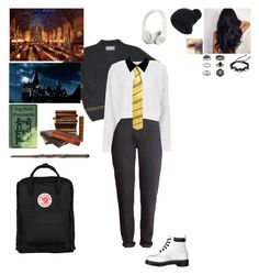 """modern hufflepuff"" by cc-quinn ❤ liked on Polyvore featuring Dr. Martens, CO, Accessorize, Fjällräven, Topshop, Edit, Beats by Dr. Dre, modern, women's clothing and women's fashion"