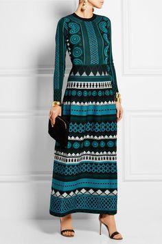 Temperley London|Gayla intarsia stretch-knit maxi dress|NET-A-PORTER.COM