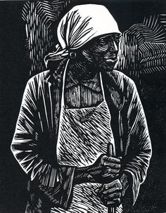 """Survivor"" is a linoleum block print made by Elizabeth Catlett in 1983. It's a striking image, based on a photograph by Dorothea Lange called ""Ex-slave with a Long Memory"" taken in Alabama in 1937 or 1938."
