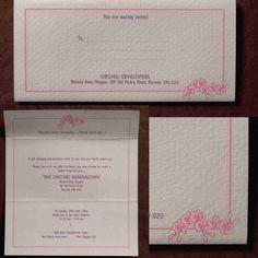 Inauguration Invitation. Pastel shades printing on textured sheet. Floral prints with pastel pink shade.