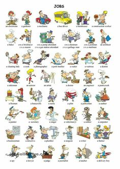 English Vocabulary ©: Professions and Jobs English Time, English Course, English Fun, English Study, English Words, English Grammar, Learn English, English Resources, English Activities