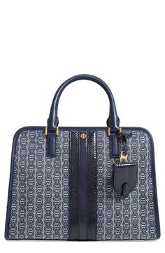 c831b058e87d Tory Burch Gemini Link Jacquard Snake Satchel With Genuine Snakeskin Trim -  Blue Tory Burch