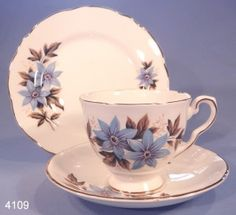 Royal Stafford Blue Dahlias Vintage Bone China Tea Cup, Saucer and Tea Plate Trio