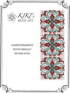 Flower ornaments peyote bracelet cuff pattern in PDF instant download
