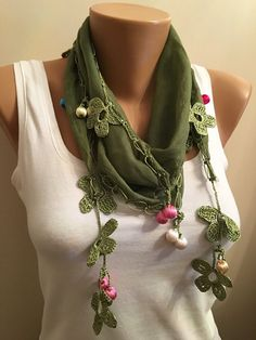 Tukish Oya ScarfGreen Crochet Edge ScarfWomens by EcoScarvesDesign