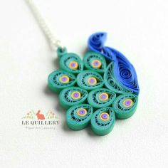 Quilled peacock pendant