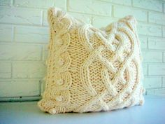 Hand Knit Pillow Cover Decorative Throw Accent  Aran Fisherman Pattern Cable Cream Ivory Cozy 18 x 18. $85.00, via Etsy.