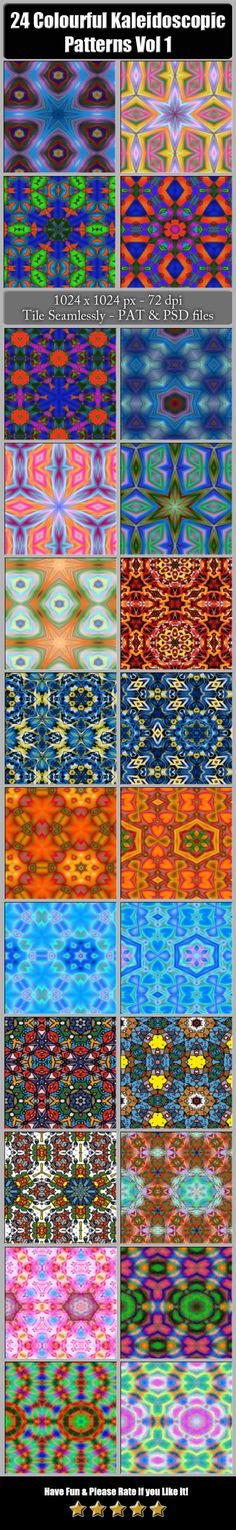 24 Colourful Kaleidoscopic Patterns Vol. 1 by Jipito This pack contains 24 Colourful Kaleidoscopic patterns suitable for your web design or print needs. The patterns are 10241024 px 7 Texture Architecture, Decorative Lines, Photoshop, Web Design, Graphic Design, Abstract Photography, Colorful Backgrounds, Texture Tile, Patterns
