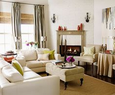 Lots of neutrals and textures, pops of red and lime green; feels casual and formal at the same time.