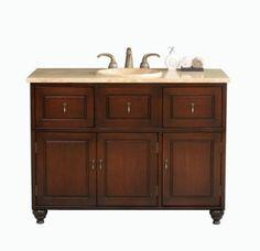 Virtu USA Limburg Dark Single Sink Bathroom Vanity with Travertine Basin, Antique Cherry Finish Single Sink Bathroom Vanity, Bathroom Vanity Cabinets, Cherry Finish, Travertine, Double Vanity, Basin, It Is Finished, Usa, Amazon