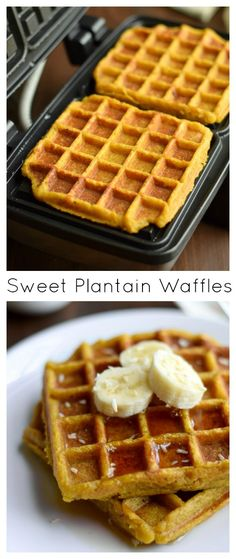 Sweet Plantain Waffles #AIP #paleo #vegan 2 Cups pureed medium ripe-ripe plantain (2-3 large plantains)* 2½ Tablespoons coconut oil, melted + more for oiling the waffle maker 1 Teaspoon cinnamon 1 Teaspoon pure vanilla extract 1 Teaspoon apple cider vinegar ½ Teaspoon sea salt ½ Teaspoon baking soda