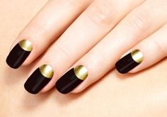 20 Extremely Cute Half-moon Nail Art Designs You Must Try: Black Nails with Gold Half-moon Manicure