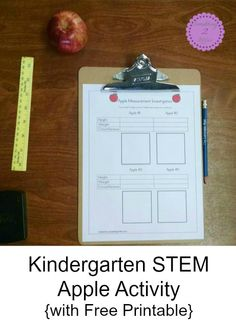 I came up with a very simple STEM apple activity which includes weighing and measuring apples and recording our results on free printable that I made.