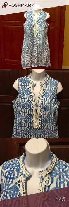 Mudpie Kate crochet dress blue painterly lattice Sleeveless comfy dress. 97% cotton and 3% spandex. Good condition. mudpie Dresses Mini