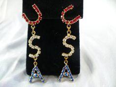 "Vintage ""USA"" Rhinestone Earrings ~ Red, Clear, & Blue Letters of All Rhinestones, Long Pierced Earrings by MarlosMarvelousFinds, $18.00"