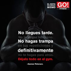 Gunnar Peterson. #gofitness #clasesgo #ejercicio #gym #fit #fuerza #flexibilidad #reto #motivate #frases #gunnar #peterson Go Fitness, Gain Mass, Certified Personal Trainer, I Can Do It, To Loose, Fitness Motivation Quotes, Loose Weight, Gym Workouts, Lions