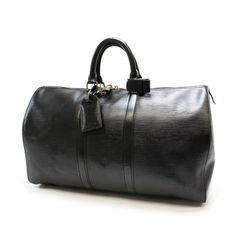 Louis Vuitton Keepall 45 Epi Handle bags Black Leather M59152