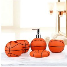 Basketball Bathroom Accessories 5 Piece Collection Set is a great gift for basketball fans! Great for kids & teenagers!